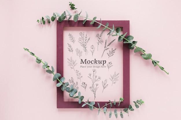 Mock-up assortimento di piante con cornice Psd Gratuite