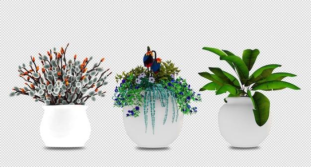 植物は3dレンダリングで鉢に花を咲かせます Premium Psd