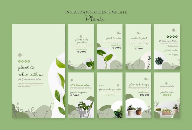 Plants instagram stories template Free Psd