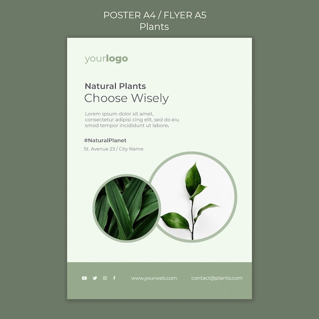 植物ショップテンプレートポスター 無料 Psd
