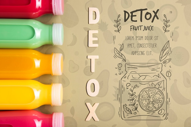 Plastic bottles with detox smoothies Free Psd