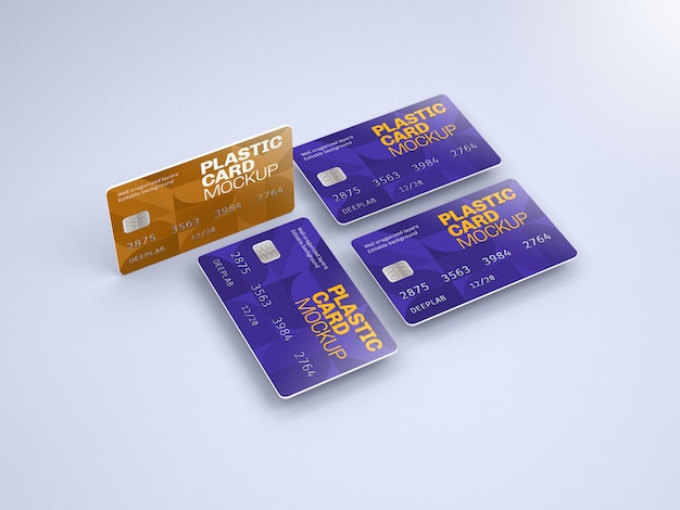 Plastic card mockup with editable background color Premium Psd