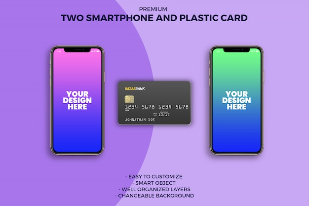 Plastic card with two smartphone mockup Premium Psd