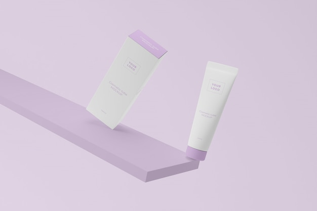 Plastic cosmetic tube with cardboard package mockup Premium Psd