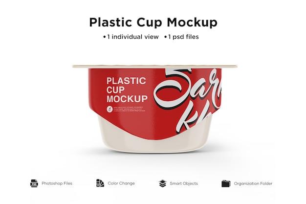 Пластиковый стаканчик с крышкой из фольги, вид спереди Premium Psd