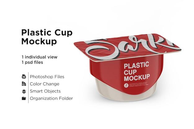 Пластиковый стаканчик с крышкой из фольги, макет Premium Psd