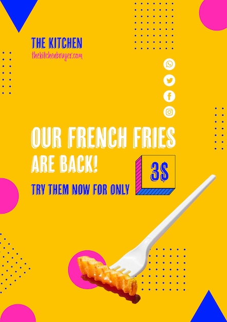 Plastic fork with french frie offer Free Psd