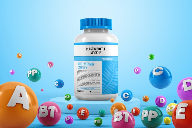Plastic pill bottle with colorful vitamins mockup Premium Psd