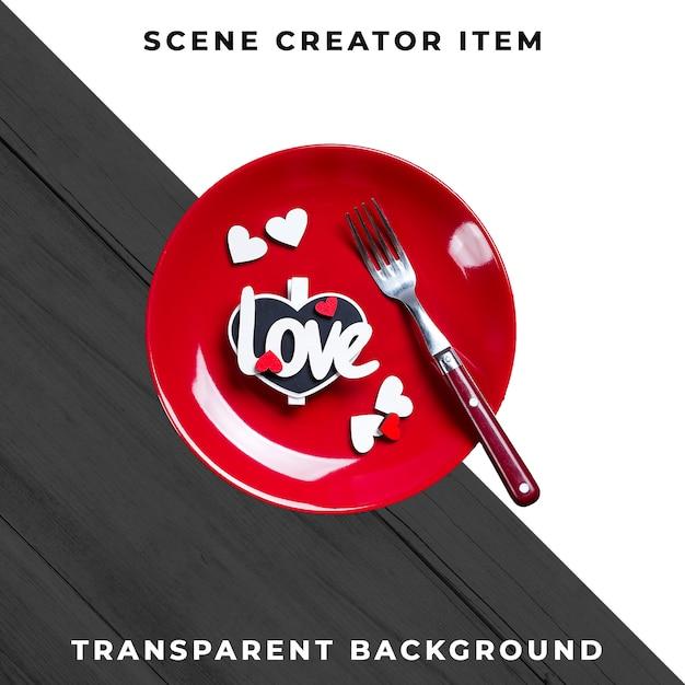 クリッピングパスで分離されたテキスト愛のプレートとカトラリー食器。 無料 Psd