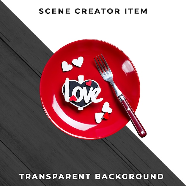 Plate and cutlery tableware with text love, isolated with clipping path. Free Psd