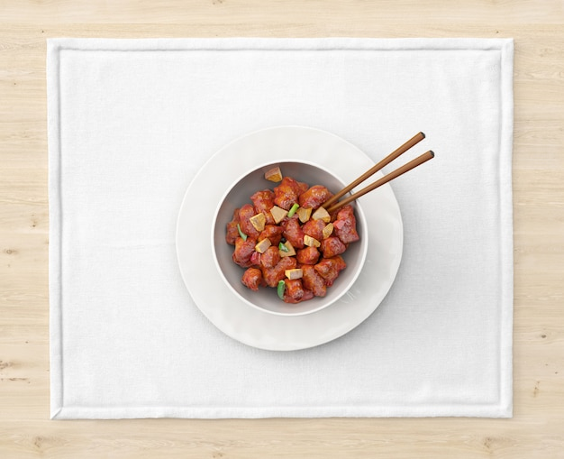 Plate with asian food and chopsticks Free Psd