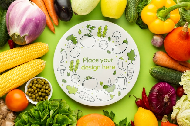 Plate with doodles mock-up with frame made from delicious fresh veggies Free Psd