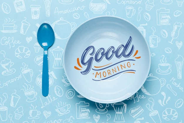 Plate with good morning message Premium Psd