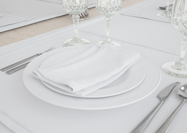 Plates and tablecloth set Free Psd