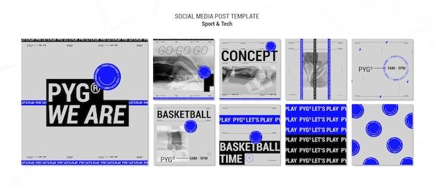 농구 개념 소셜 미디어 게시물 재생 무료 PSD 파일