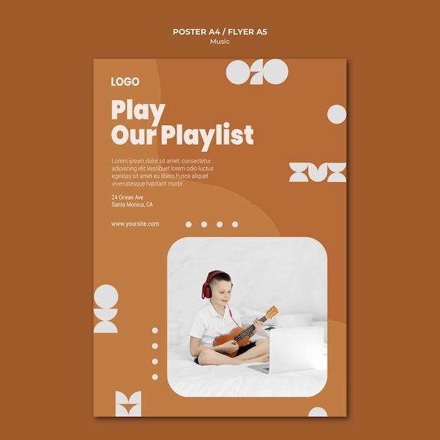 Riproduci la nostra playlist ragazzo che suona il poster dell'ukulele Psd Gratuite