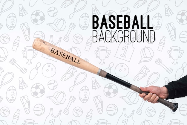 Player holding baseball bat Free Psd
