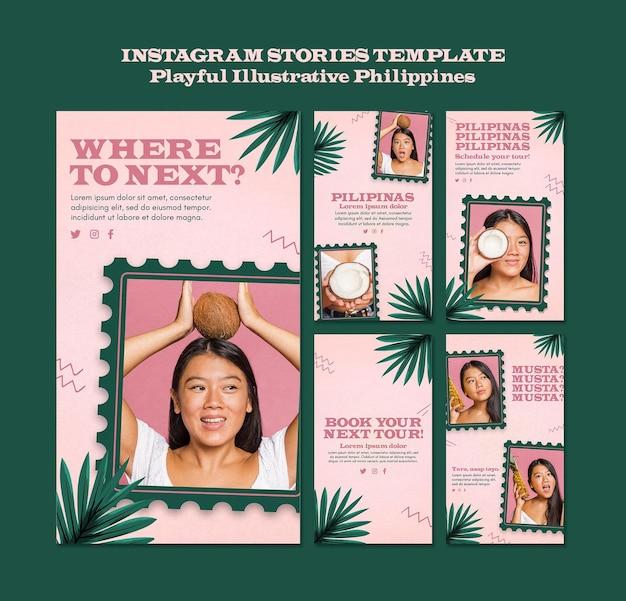 Playfullイラスト付きフィリピンのinstagramストーリー 無料 Psd