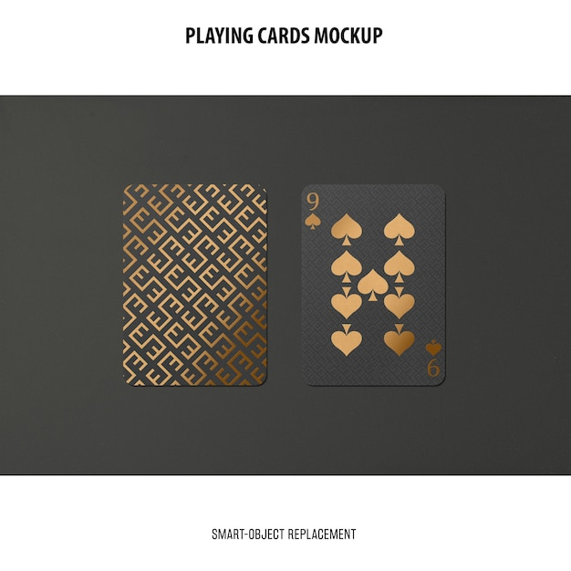 Playing cards with golden foil mockup Free Psd