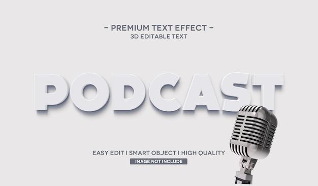 Подкаст 3d эффект стиля текста Premium Psd