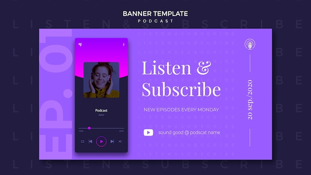 Podcast concept banner template Free Psd