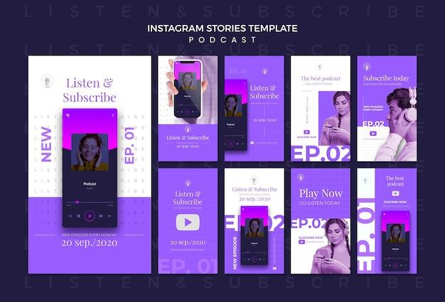 Modello di storie di instagram di concetto di podcast Psd Gratuite