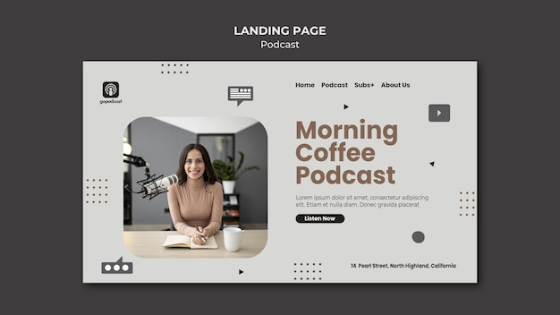 Podcast landing page template Free Psd