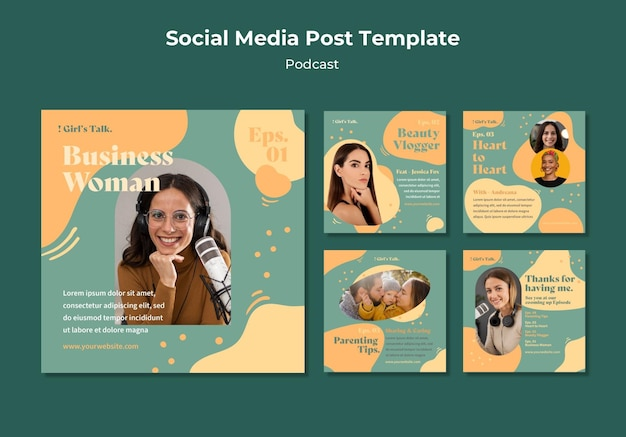 Podcast social media posts Free Psd
