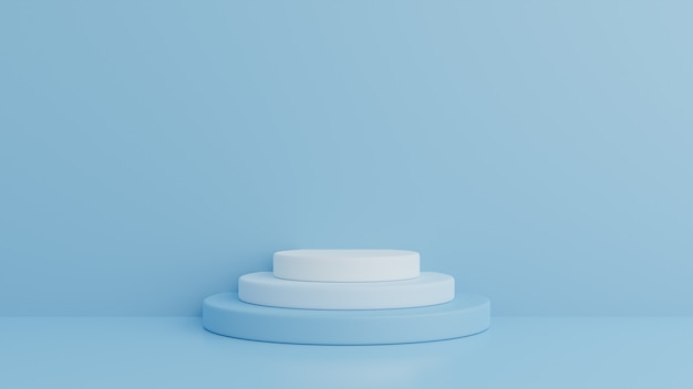 Podium in abstract blue composition, 3d render, 3d illustration Premium Psd