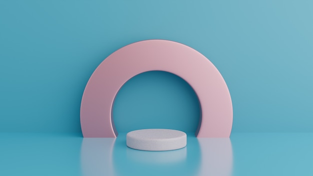 Podium. abstract minimalism with blue background, 3d render Premium Psd