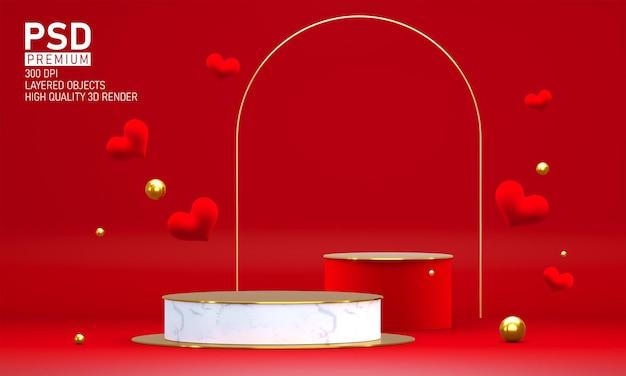 발렌타인 데이 장식 연단 프리미엄 PSD 파일