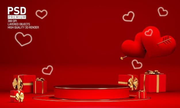 Подиум в день святого валентина с украшениями Premium Psd