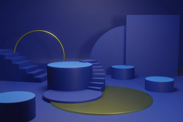 최소한의 디자인으로 방 안의 연단 또는 플랫폼 프리미엄 PSD 파일