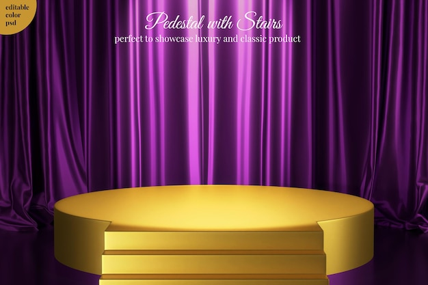 Podium with stairs for elegant product with luxury purple silk satin curtain background Premium Psd