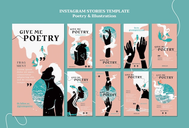 Poetry ad instagram stories template Free Psd