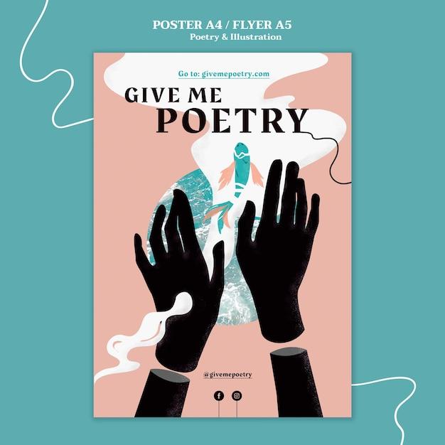 Поэзия рекламный плакат шаблон Бесплатные Psd