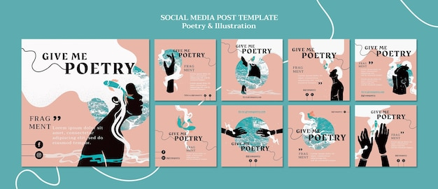 Poetry ad social media post template Free Psd