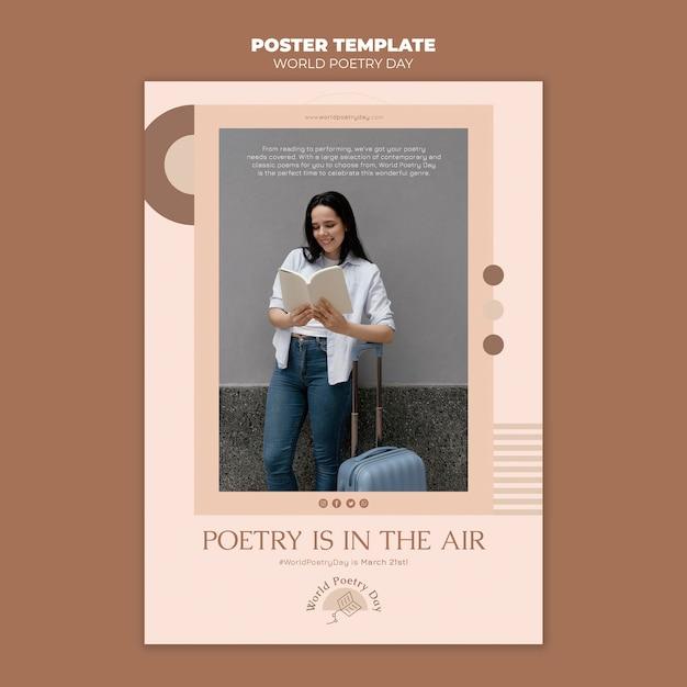 Шаблон печати дня поэзии с фото Premium Psd