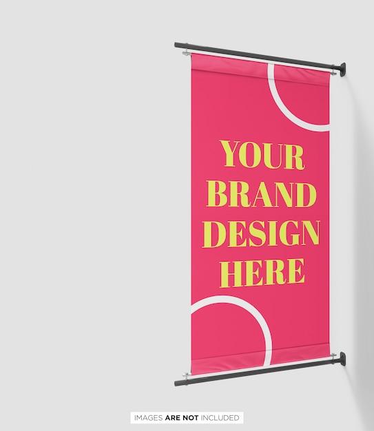 Pole banner flag branding psd mockup perspective view Premium Psd
