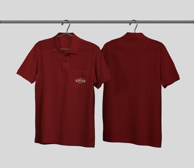 포켓이있는 폴로 셔츠 모형 디자인 프리미엄 PSD 파일