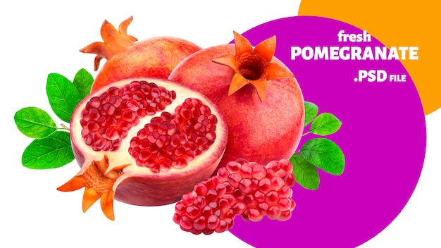 Pomegranate fruits banner isolated