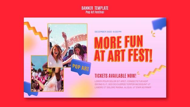 Modello di banner festival pop art Psd Gratuite