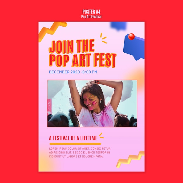Modello di volantino festival pop art Psd Gratuite