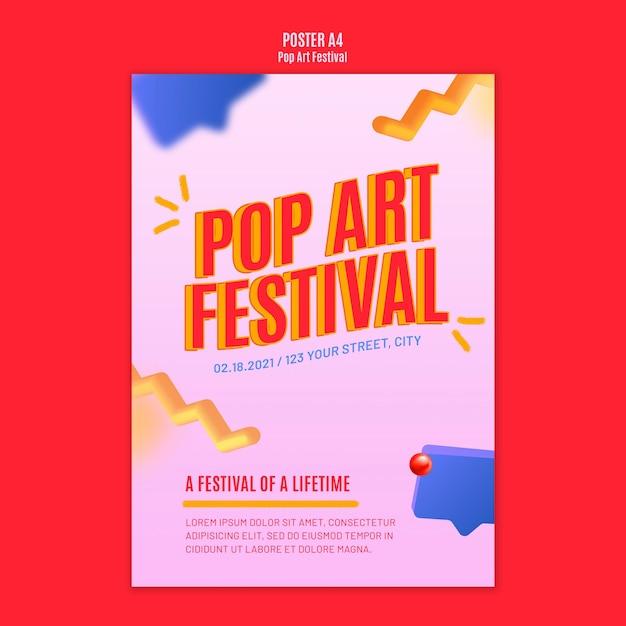 Modello di poster festival pop art Psd Gratuite