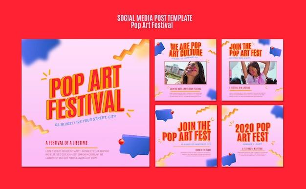 Modello di post sui social media del festival di pop art Psd Gratuite