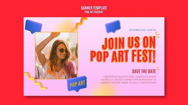 Banner modello festival pop art Psd Gratuite