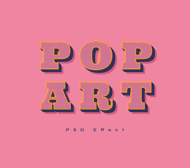 Pop art text effect Free Psd
