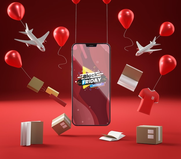 Pop-up sale balloons and mobile phone on red background Free Psd