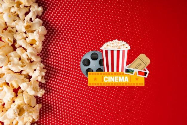 Вид сверху макет попкорна и кино Бесплатные Psd