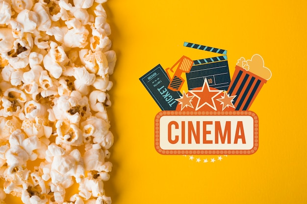 Popcorn and cinema mock-up top view Free Psd